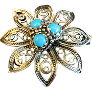 Art Nouveau 14K Yellow Gold and Persian Turquoise Filigree Brooch