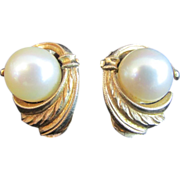14K Gold and Pearl Vintage Clip-On Stud Earrings