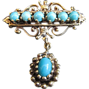 Antique Art Nouveau 14K Gold Brooch with Persian Turquoise