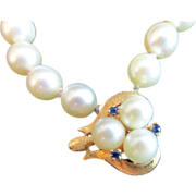 Genuine Antique Pearl Necklace with 14K Gold Pendant and Clasp