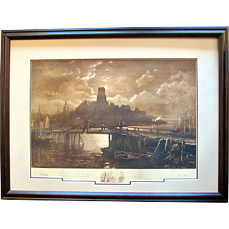 "Original Signed Etching ~ 1887 ~ George McCord & John Henry Hill with Longfellow's Poem ""The Bridge"""