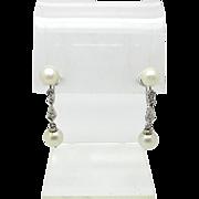 Marvelous Art Deco White Gold Diamond and Pearl Screwback Drop Earrings