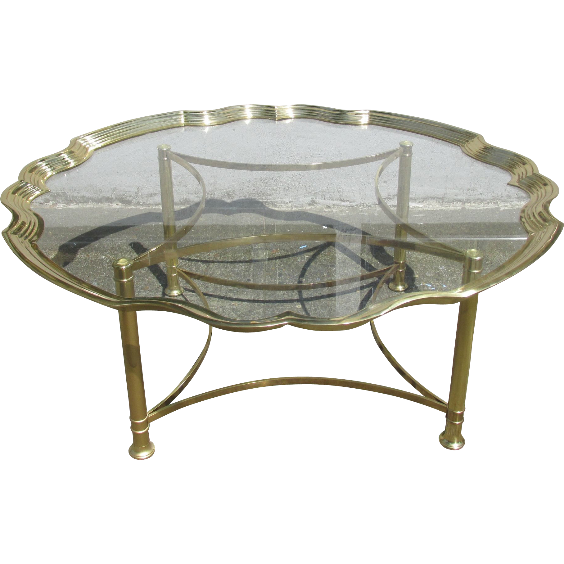Labarge Cast Brass And Glass Coffee/cocktail Table