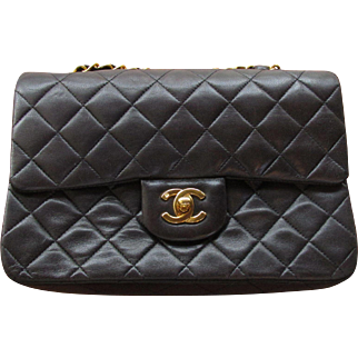 Authentic Chanel Classic Walnut Quilted Lambskin Flap Bag Circa 1995