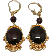 Elegant 14k Gold Cabochon Garnet Earrings