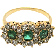 Late Victorian Antique 14kt Gold Emerald and Diamond Ring