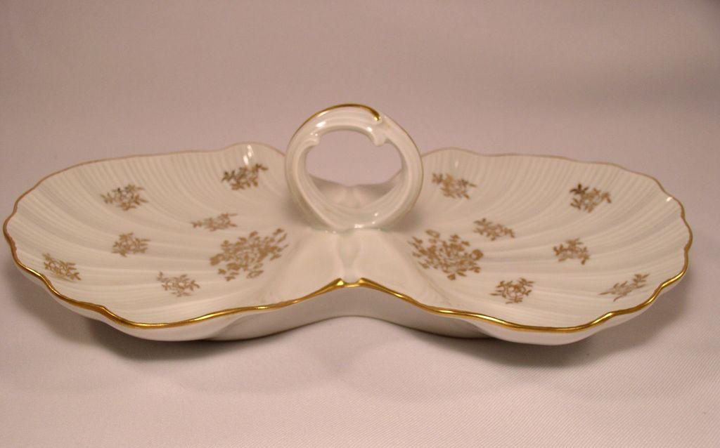 Limoges France  2 Section Porcelain Shell Dish