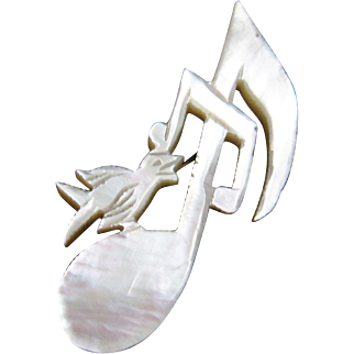 Antique Victorian Song Bird Music Note Brooch/Pin