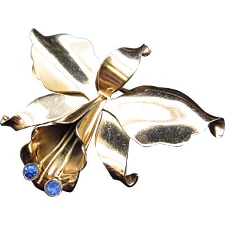 Coro Hector Aguilar Orchid Brooch / Pin Silver & Vermeil Made in Mexico 1943-1950
