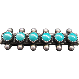Vintage Turquoise Petit Point Silver Brooch / Pin