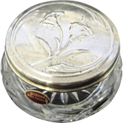 Gorham Glass Vanity Jar with Floral Silver Plated Lid