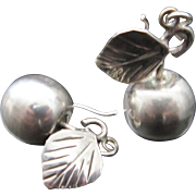 Vintage Taxco Silver Apple Fruit Earrings