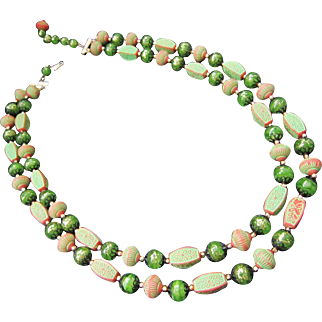 Vintage Double Strand Beaded Necklace Marked Hong Kong