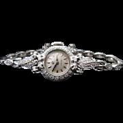 Vintage Omega Watch Art Deco Ladies Diamond Swiss Watch 14k White Gold