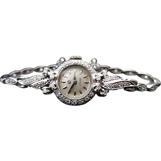 Vintage Omega Watch Art Deco Ladies Diamond Swiss Watch 14k White Gold