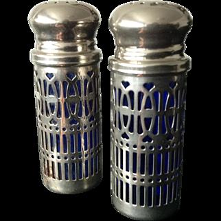 Vintage Salt and Pepper Shakers Blue Cobalt Glass UK PAT. No. 1014132