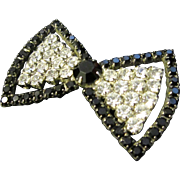 Vintage Art Deco Black and White Bow Pin / Brooch