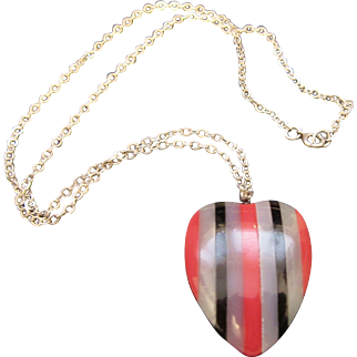 Vintage Early Plastic Puffy Heart Necklace / Pendant with Sterling Silver Chain