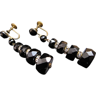 Vintage Black and White Earrings marked Western Germany