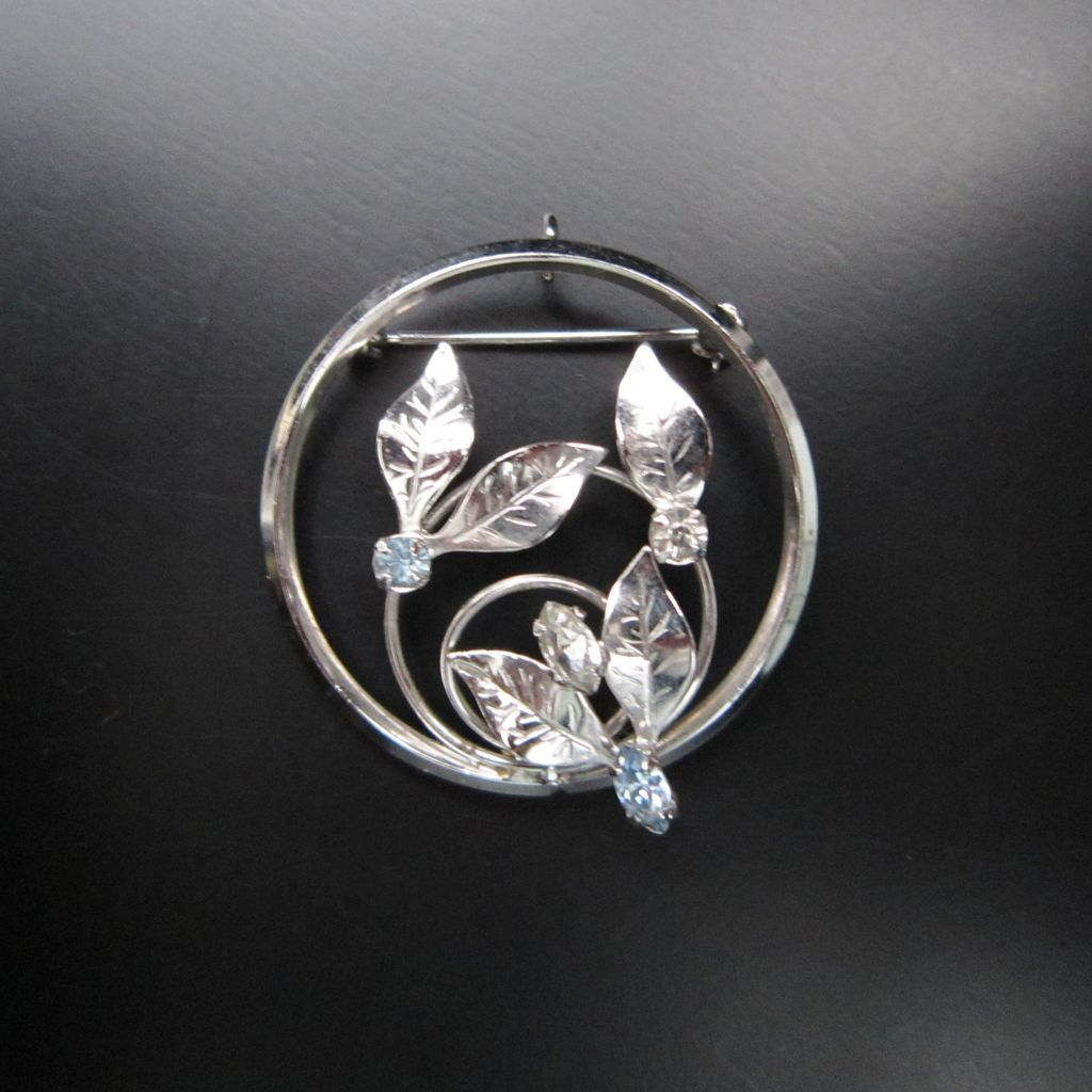 vintage sterling silver leaf brooch pin signed d or from roll over large image to magnify click large image to zoom