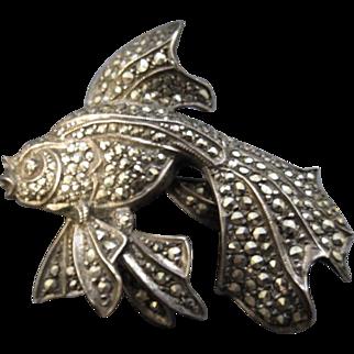 Vintage Sterling Silver Marcasite Goldfish / Koi Brooch