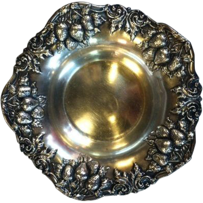 Sterling Silver Strawberry Motif Bowl by Woodside Silver Company, NY