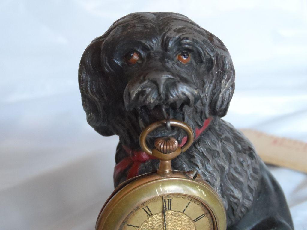 Victorian / Edwardian Figural Dog Pocket Watch Holder and Watch