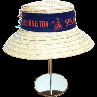 Vintage Washington Senators Baseball Straw Hat