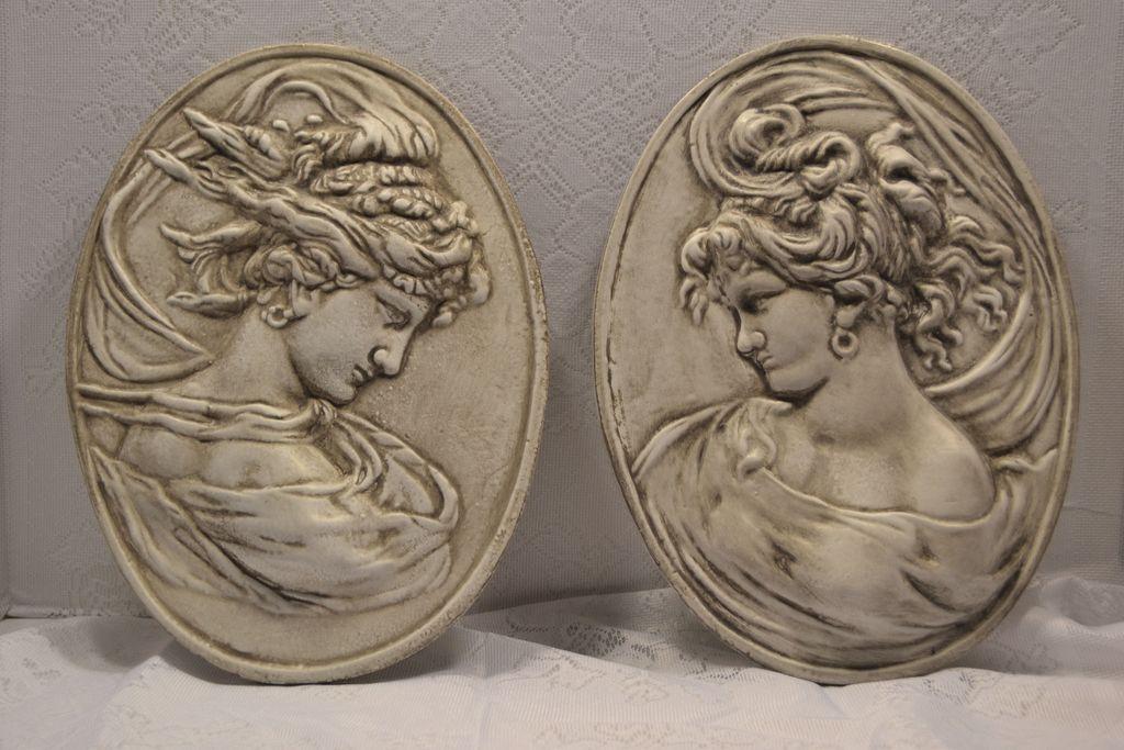 Vintage Art Nouveau Cast Iron Wind Maiden Plaques