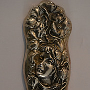 Superb Antique Art Nouveau Sterling Silver Wind Maiden and Calla Lilies' Broach C. 1902