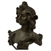 Antique French Art Nouveau Bust of Water Nymph by A. J. Foretay C. 1900