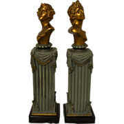 Wonderful Antique Set of Art Nouveau Cast Bronzed Busts of Diana & Apollo by F. Iffland C. 1880-1900