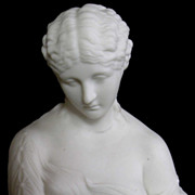 Fine Antique English Parian Bisque Porcelain Bust of Clytie C. 1870