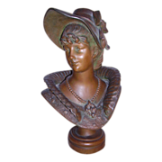"Excellent Victorian Art Nouveau Bronzed Metal Bust of 'KAREN"" by M. Dutrion C. 1880-1900"