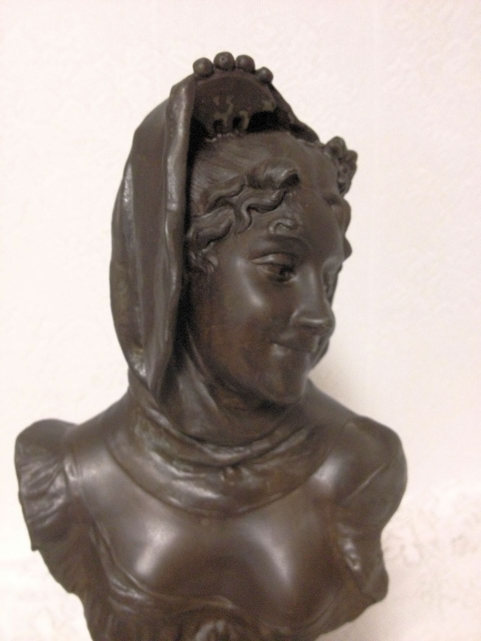 Superb Antique French Art Nouveau Maiden Bust by Henri Levasseur C. 1880-1900