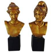Superb Vintage Set of Plaster / Chalkware Busts of Greek God and Goddess Apollo and Diana The Huntress - Red Tag Sale Item