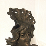 Great Antique Art Nouveau Bust of L'ETE by Franz Iffland C. 1880-1910