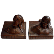 Beautiful Vintage Dark Bronze Set of Dante & Beatrice Bookends C. 1900-1930
