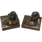 Mint Vintage Set of Dante & Beatrice Deep Chocolate Bronzed Bookends by Jennings Brothers C. 1900-1930