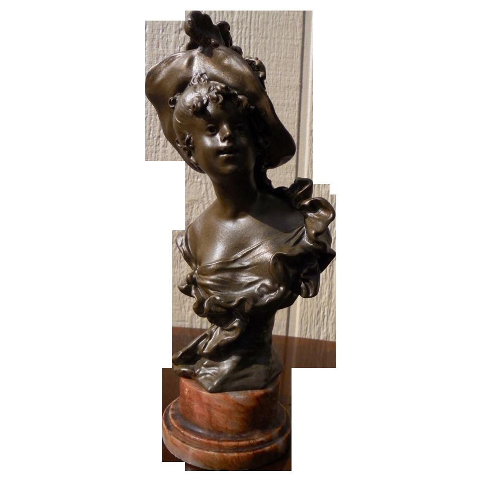Superb Antique French Art Nouveau Bronze Bust by Auguste Moreau C. 1870-1900