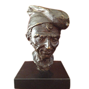 Exquisite Antique French Bronze Bust of Peasant On Black Marble Base C. 1880-1900