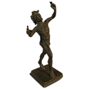 Wonderful Antique Bronze Statue of The Dancing Faun of Pompeii C, 1880-1920