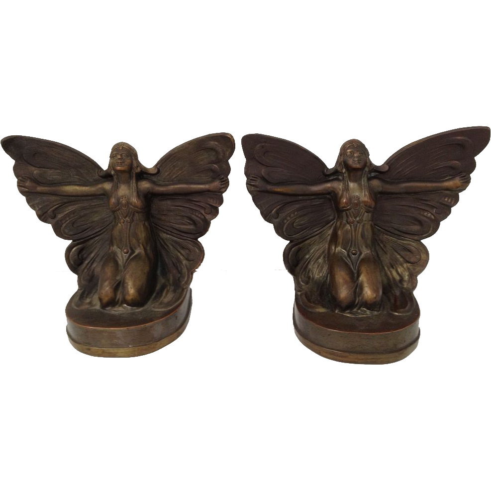 Beautiful Bronzed Art Nouveau / Art Deco Set Of Butterfly Girl Fairy Bookends C. 1922