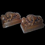 Magnificent Rare Vintage Set of Lion of Lucerne Bronze Bookends With Original N.Y. Lables C. 1900-1920.