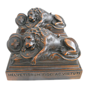 Exquisite Antique Art Nouveau Era Hand Carved Lion of Lucerne Statues / Bookends C. 1890-1910