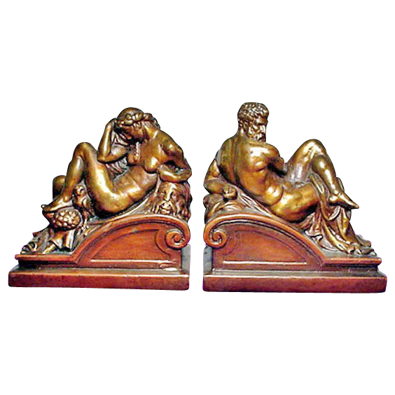 Exquisite Rare Original Michelangelo's Twilight & Dawn Bronzed Bookends by Armor Bronze C. 1922
