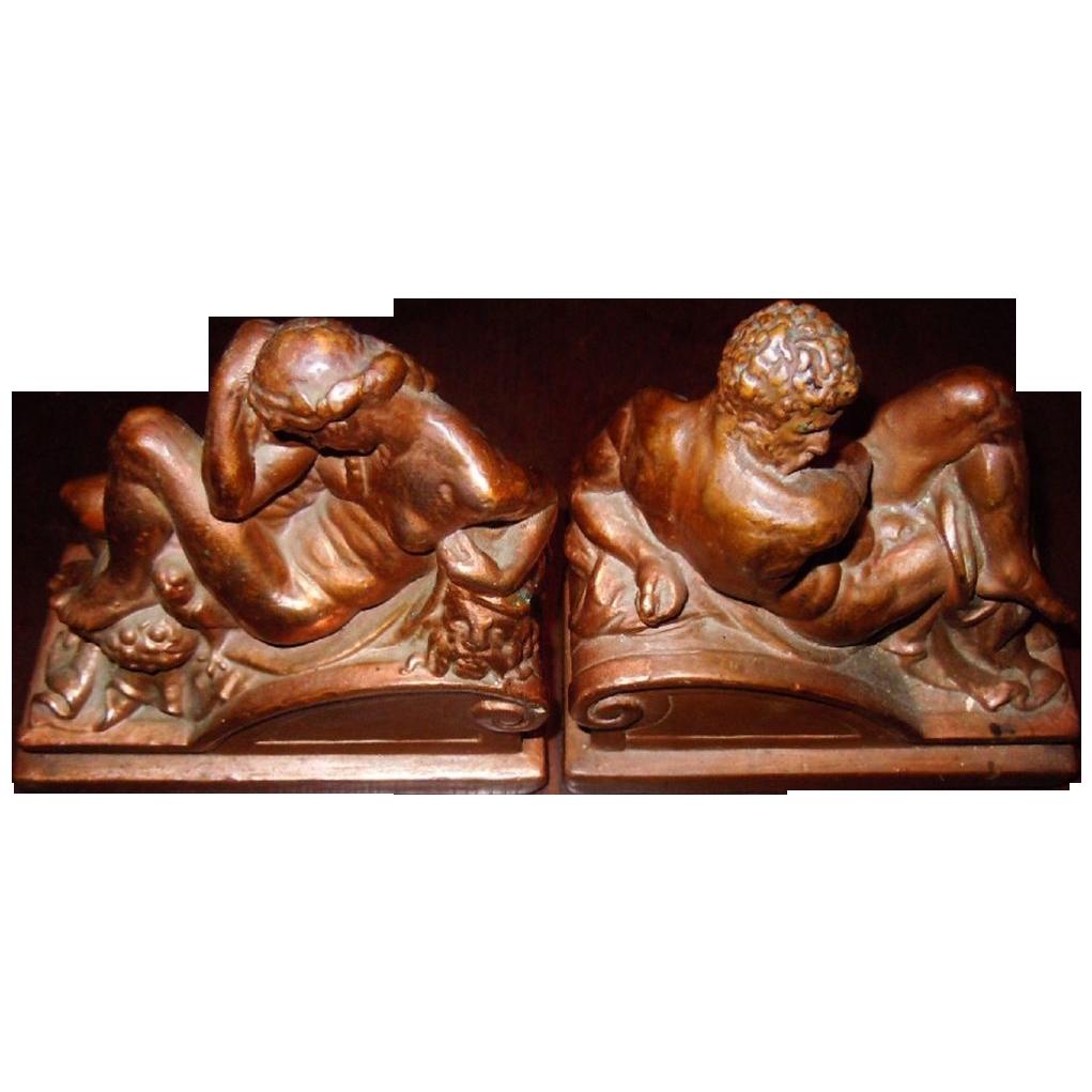 Exquisite Rare Original Vintage Michelangelo's Twilight & Dawn Bronzed Bookends by Armor Bronze C. 1922
