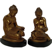 Beautiful Vintage Collector Bronze Art Deco Nude Bookends by RONSON Company C. 1900-1930