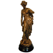 Magnificent Antique French Neoclassical Gold Gilded Roman or Greek Goddess Statue C.1880-1900