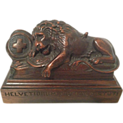 Exquisite Antique Hand Carved Set of Lion of Lucerne Bookends by E. Kopriwa Co Chicago, IL C. 1900